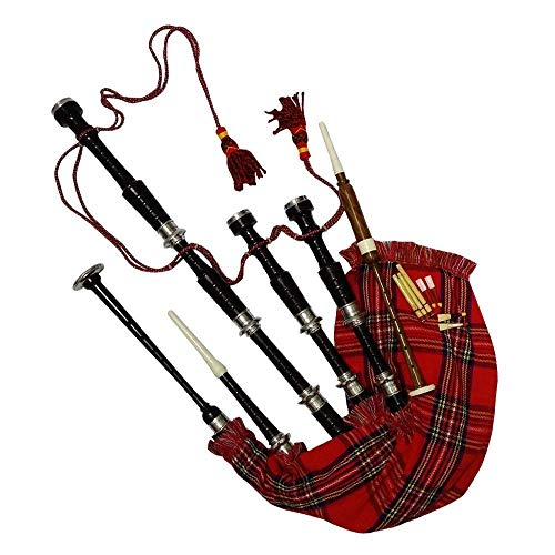 Scottish Bagpipe Rosewood Royal Stewart Tartan Black Finish with Silver Plain Mounts Free Tutor Book, Carrying Bag, Drone, Reeds(USA)