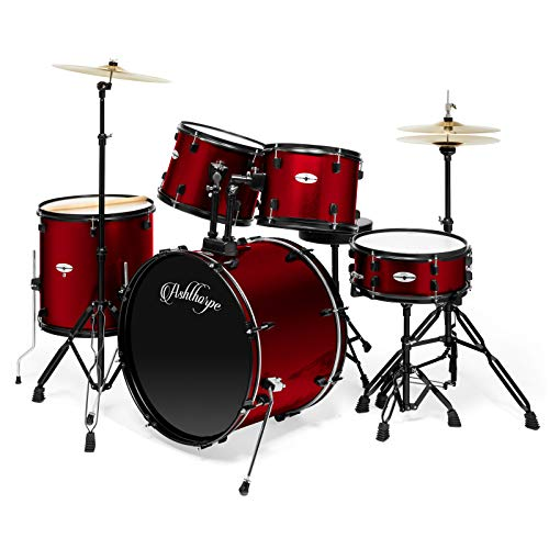 Ashthorpe 5-Piece Complete Full Size Adult Drum Set with Remo Batter Heads – Red