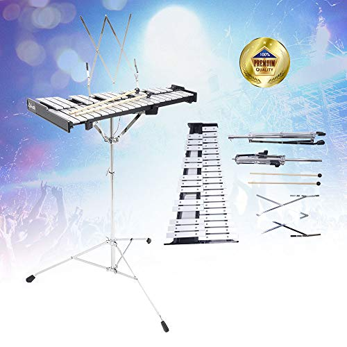 Libretto 32 Notes Educational Glockenspiel Aluminum Bell Kit with Mallets, Stand and Convenient Carrying Case, Made in Taiwan! Made Exclusively by Stage Rocker!
