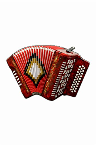 Full Size 31 Button Red Diatonic Accordion Key of SOL G,C,F, with Hardshell Case and Back Straps, 2 Months Free Lessons Included, & DirectlyCheap(TM) Translucent Blue Medium Pick