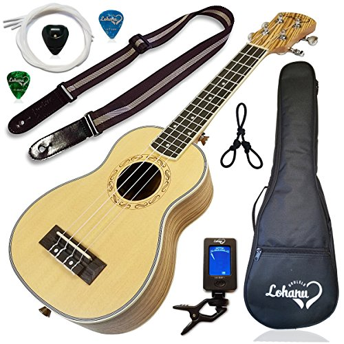 Ukulele from Lohanu Spruce Top Zebra Wood Sides & Back With All Accessories Included (Soprano)