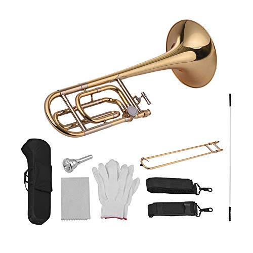 Trombone,Slide Trombone,Tenor Bb Flat Intermediate with F Attachment Including Mouthpiece Carry Case Gloves Cleaning Cloth