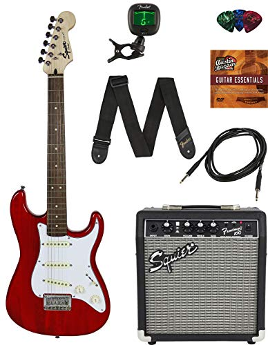 Squier by Fender Short Scale Stratocaster – Transparent Red Bundle with Frontman 10G Amp, Cable, Tuner, Strap, Picks, Fender Play Online Lessons, and Austin Bazaar Instructional DVD