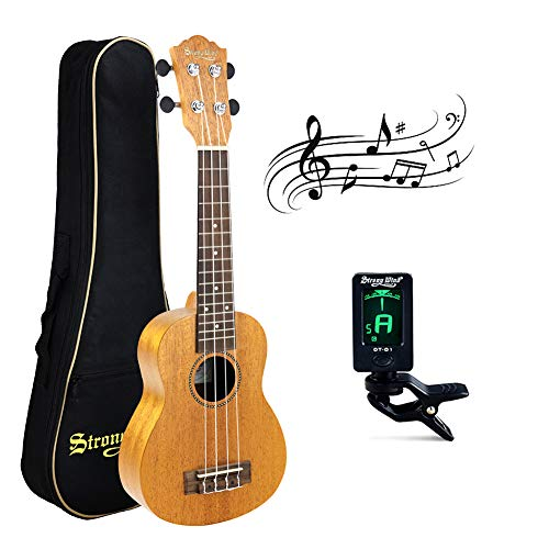 21 Inch Soprano Ukulele,Strong Wind AAA Mahogany Body Hawaiian Ukelele Professional Instrument Starter Kit with Gig Bag Tuner for Kids/Adults/Students/Beginners