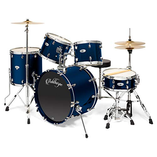 Ashthorpe 5-Piece Full Size Adult Drum Set with Remo Heads & Premium Brass Cymbals – Complete Professional Percussion Kit with Chrome Hardware – Blue