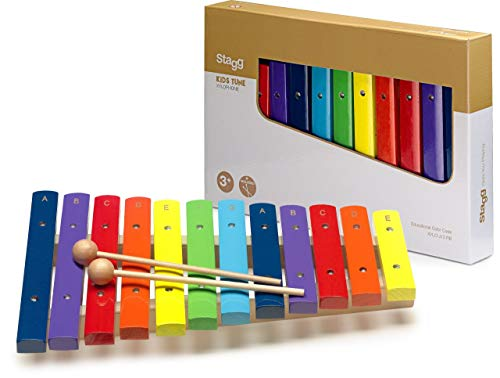 Stagg XYLO-J12 RB 12 Key Rainbow Colored Childrens Xylophone with Mallets