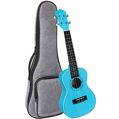 Concert Ukulele Ranch 23 inch Professional Wooden ukelele Instrument with Free Online 12 Lessons and Gig Bag – Small Hawaiian Guitar – Sky Blue