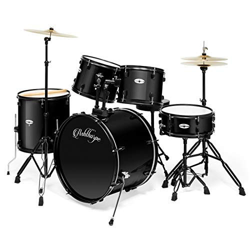 Ashthorpe 5-Piece Complete Full Size Adult Drum Set with Remo Batter Heads – Black