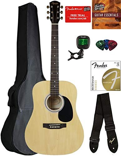Fender Squier Dreadnought Acoustic Guitar – Natural Bundle with Gig Bag, Tuner, Strap, Strings, Picks, and Austin Bazaar Instructional DVD