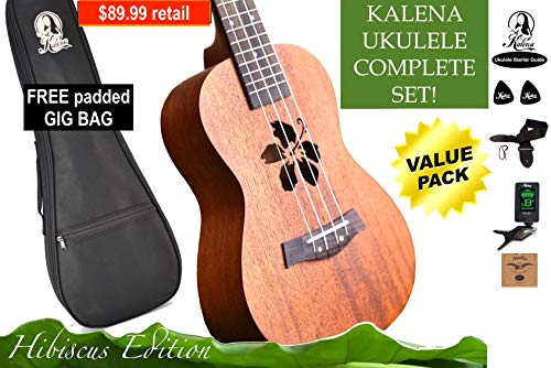 Kalena Factory Direct Ukulele with instruction book, strap, tuner, extra strings, felt picks, complete set for all ages (24″ Concert Hibiscus, Warm Mahogany)