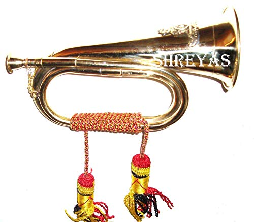 SC EXPORTS Boy Scout Brass and Copper Blowing Bugle Attack War Command Signal Horn 10.6″ Inch with Beautiful Colourful Rope Binding