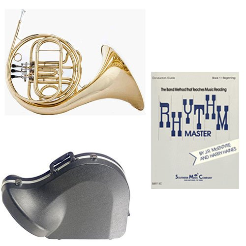 Band Directors Choice Single French Horn in F – Rhythm Master Pack; Includes Student French Horn, Case, Accessories & Rhythm Master Book