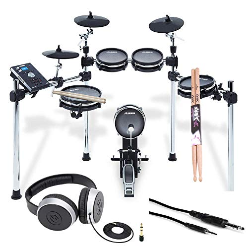Alesis COMMAND MESH KIT Eight-Piece Electronic Drum Kit with Pair of Drumsticks + Samson SR550 Studio Headphones + Hosa 3.5 mm Interconnect Cable, 10 feet – Deluxe Accessory Bundle