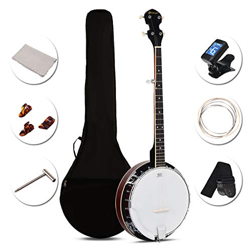 Sonart 5-String Banjo Remo Drum and 24 Adjustable Brackets, Mid-range Closed Handle and Mid-range Steel Wire in Plywood Frame, Fingerboard, with 420D Oxford Cloth Bag, One Strap, Wiper, 3