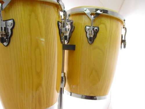 NATURAL CONGA DRUM SET – 9″ and 10″ inch HEADS + STAND