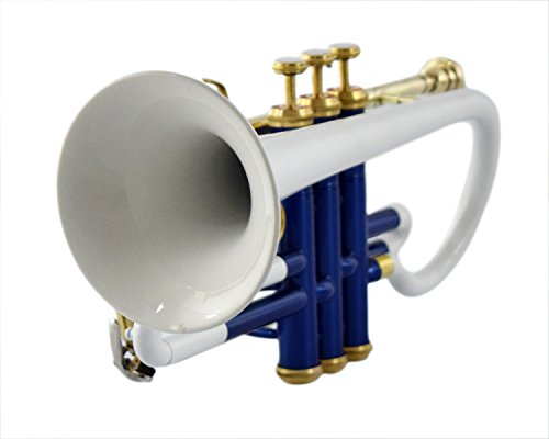 BEST QUALITY CORNET Bb PITCH WHITE + BLUE COLORED WITH CASE AND MP