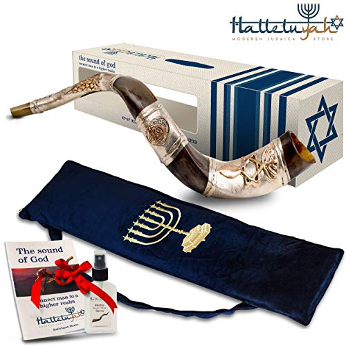 HalleluYAH Silver Plated Shofar Set – Evangelical Messianic Judaism 28″-32″ Kudu Horn Kosher Shofar– Traditional Ancient Musical Instrument For Jewish Spiritual Ceremonies – Made In Israel