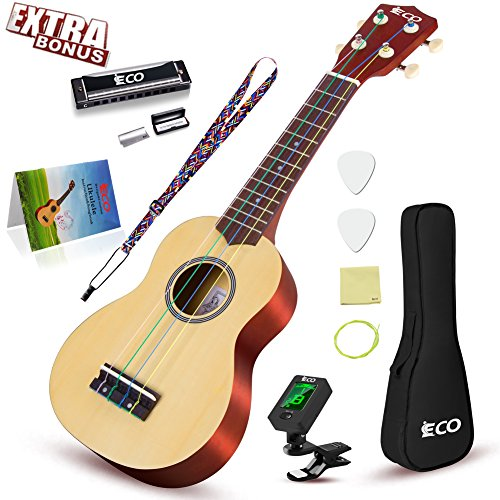 Rainbow Soprano Ukulele Starter Set-21 Inch w/Gig Bag Learn to Play Songbook Digital Tuner Strap All in One Kit