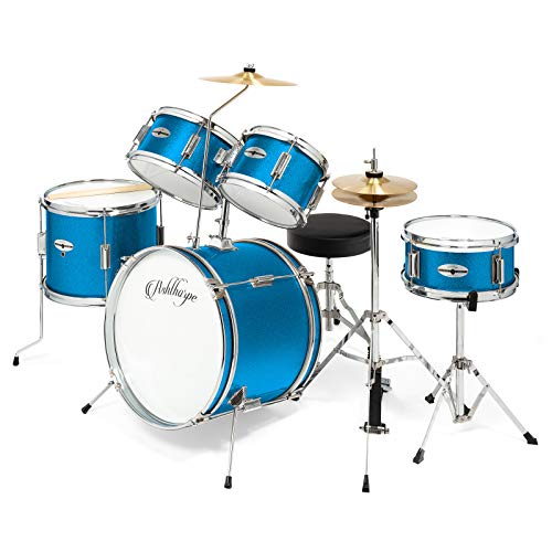 Ashthorpe 5-Piece Complete Kid's Junior Drum Set with Genuine Brass Cymbals – Children's Advanced Beginner Kit with 16″ Bass, Adjustable Throne, Cymbals, Hi-Hats, Pedals & Drumsticks – Blue