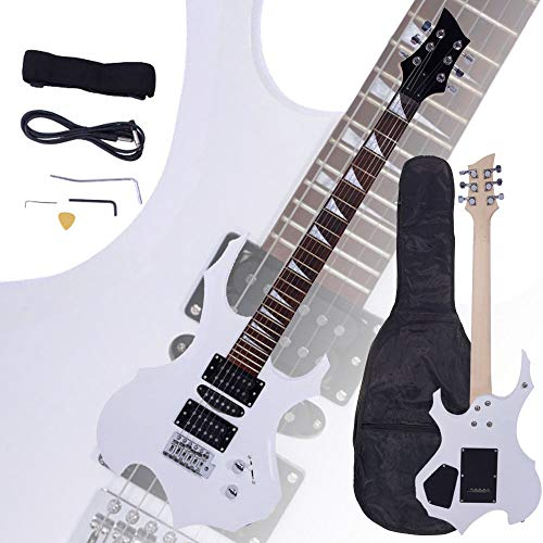 Aromzen New Flame Type Electric Guitar White +Gigbag +Strap +Cord +Pick +Tremolo Bar