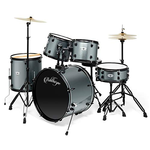 Ashthorpe 5-Piece Complete Full Size Adult Drum Set with Remo Batter Heads – Silver