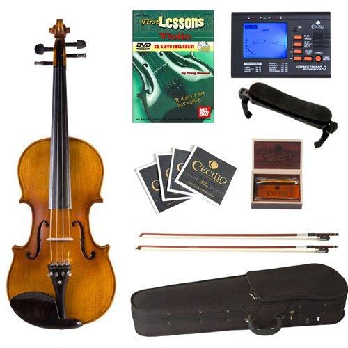 Cecilio CVN-500 Antique Flamed Ebony Violin+Tuner, 2 Bows, Shoulder Rest, Extra Strings & Lesson Book in 4/4 (Full Size)