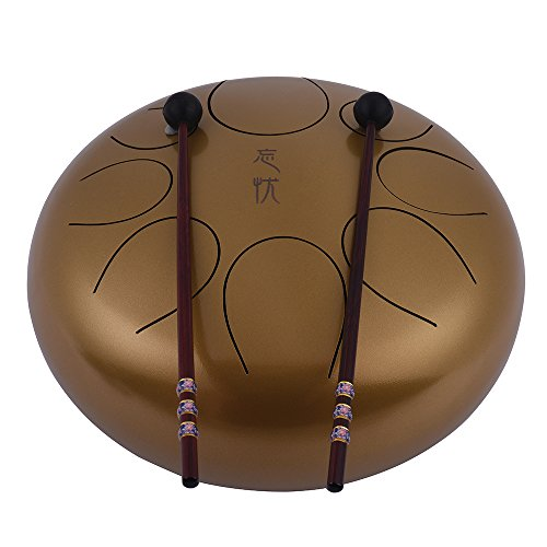 Steel Tongue Drum Muslady 10 Inch Handpan Drum Hand Drum Percussion Instrument with Drum Mallets Carry Bag Note Sticks for Meditation Yoga Zazen Sound Healing