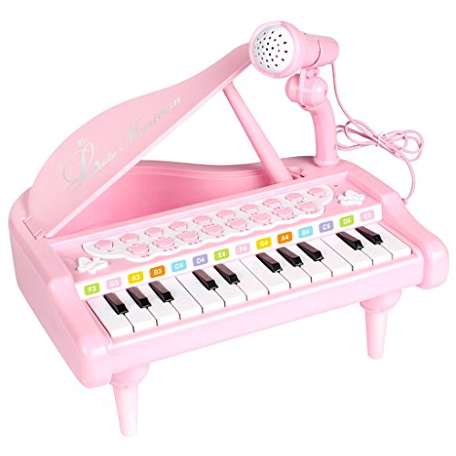 DUWEN Keyboard Children's Keyboard With Microphone 3-6 Years Old Simulation Multifunctional Small Piano  Pink (Color : Pink)