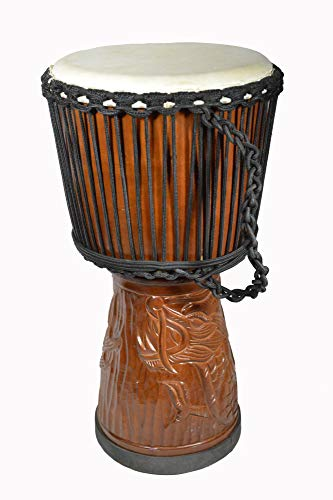 DJEMBE DRUM EXCLUSIVE DEEP HAND CARVED 24″ TALL BONGO DRAGON DESIGN GOATSKIN RUBBER BOTTOM FINISH FOR SPECIFIC SOUND