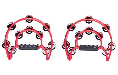 Foraineam 2 Pieces 9″ Half Moon Handheld Tambourine – Double Row 20 Pairs Jingles Musical Percussion – Red