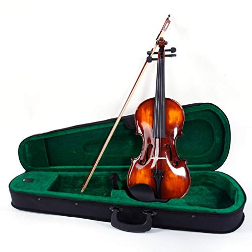 Teekland Classic 1/2,1/4,1/8 Handmade Violin with Bow/Strings/Rosin/Fiddle Case (1/4)