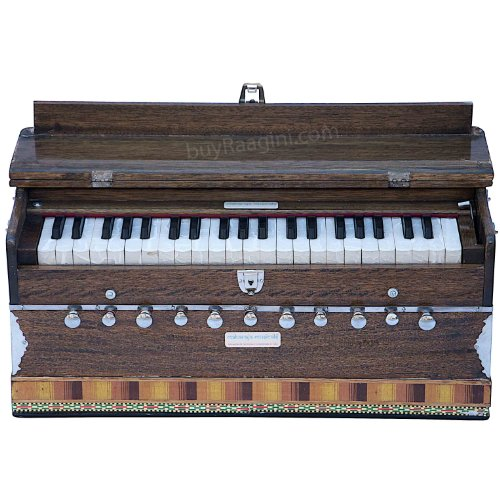 Maharaja Musicals Harmonium, 11 Stops, In USA, 3 1/2 Octave, Double Reed, Coupler, Walnut Color, Standard, Padded Bag, A440 Tuned, Harmonium Indian Musical Instrument (US-PDI-BFH)