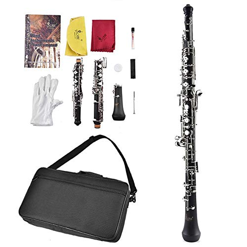 Tbest C Key Oboe Silver Cupronickel Plated Woodwind Musical Instrument Accessory Kit with Reed Case Storage Bag Clean Cloth Screwdriver for Beginners Students