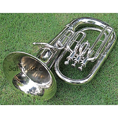 Queen Brass Euphonium Silver Chrome Nickle Polish Pure Made of Pure Brass 4 Valve Euphonium Bb Pitch With Free Case Box & Mouth Pc.