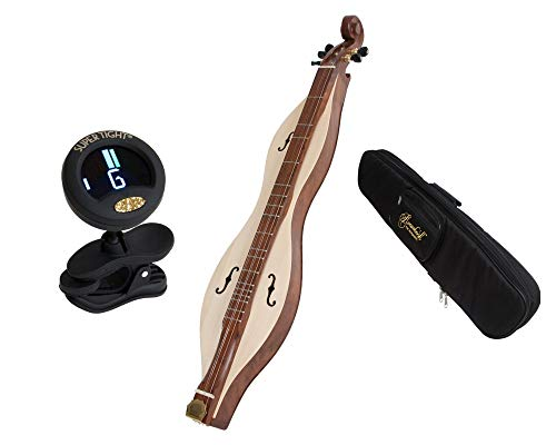 5 String Solid Spruce &Sheesham Pro Quality Cutaway Mountain Dulcimer + Roosebeck Universal Padded Mountain Dulcimer Gig Bag Case + Snark Clip-On Chromatic Tuner For Guitar, Lute, Oud Dulcimer
