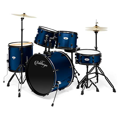 Ashthorpe 5-Piece Complete Full Size Adult Drum Set with Remo Batter Heads – Blue