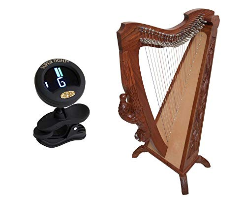 Woodlands Harp Package Includes: 26 String Beautifully Engraved 35″ Tall Woodlands Harp W/Free Play Book + Snark Clip-On Chromatic Tuner For Guitar, Lute, Oud Dulcimer