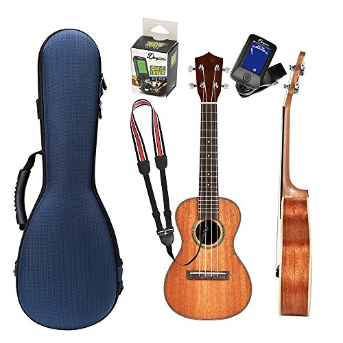 Soprano Ukulele Beginner Kit Brown Mahogany Hawaiian Small Guitar Set with Ukulele Hard Case Digital Tuner Strap for Kids Students and Beginners with Blue Case