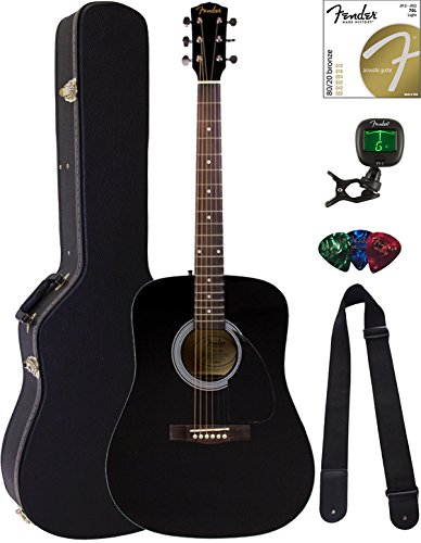 Fender FA-115 Dreadnought Acoustic Guitar – Black Bundle with Hard Case, Tuner, Strings, Strap, and Picks