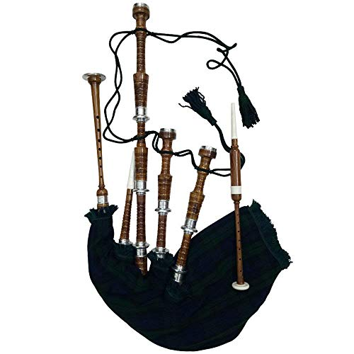 Scottish Highland Bagpipe Silver Mounts Black Watch Cover & Cord Natural Finish Rosewood with Tutor Book (USA)