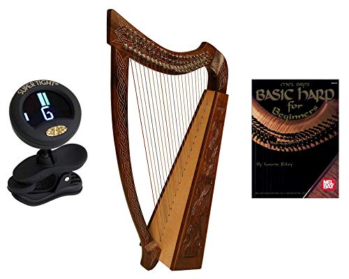 Roosebeck Irish Celtic Heather Harp Vine Design W/Free Play Book + Snark Clip-On Chromatic Tuner For Guitar, Lute, Oud Dulcimer + Mel Bays Basic Harp Book For Beginners By Laurie Riley