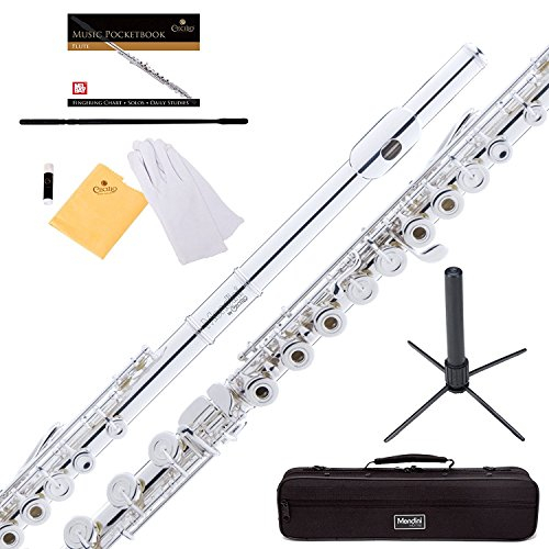 Mendini Silver Plated Intermediate 17 Keys Open/Closed-Hole C Flute w/B Foot Joint, Durable Case, 1 Yr Warranty, Stand, Book, Cleaning Rod & Cloth, Joint Grease and Gloves MFE-30S