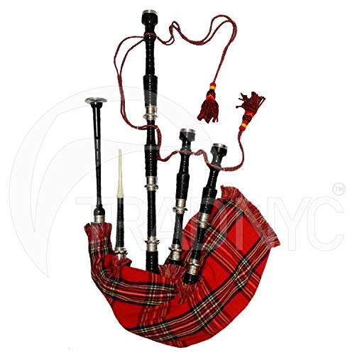 TRAD NYC Bagpipes Black Finish with Plain Silver Mounts + Carrying Case + Tutor Book (Royal Stewart)