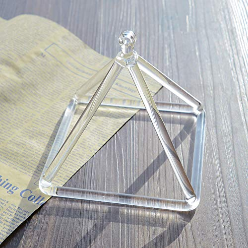 TOPFUND Singing Bowls Clear Crystal Singing Pyramid 12 inch (Suede Sticker Included)