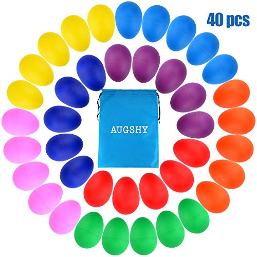 40 Pieces Plastic Egg Shakers Percussion Musical Egg Maracas with a Storage Bag for Kids Toys Music Learning DIY Painting(8 Different Colors)