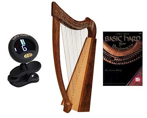 Heather Harp Package Includes: Roosebeck Celtic Heather Harp (Knotwork) + Snark Clip-On Chromatic Tuner For Guitar, Lute, Oud Dulcimer + Mel Bays Basic Harp Book For Beginners By Laurie Riley