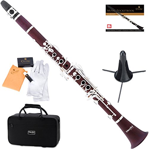 Mendini MCT-30 Intermediate Solid Rosewood B Flat Clarinet with Stand, Pocketbook, Case, Stand, Mouthpiece, 10 Reeds and More
