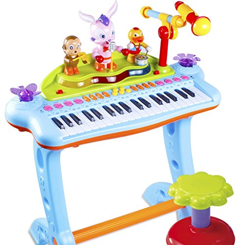 DUWEN Keyboard Children's Keyboard Toy With Microphone Baby Multifunctional Piano Rechargeable 1-3-6 Year Old Girl Beginner