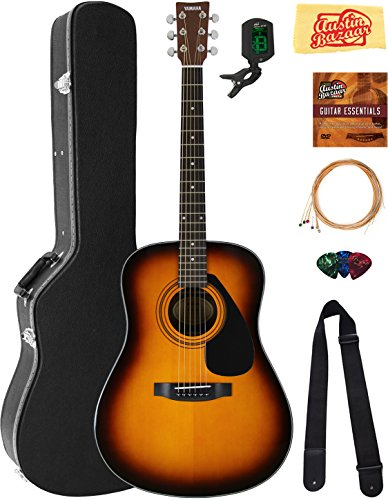 Yamaha F325D Dreadnought Acoustic Guitar – Tobacco Sunburst Bundle with Hard Case, Tuner, Strings, Strap, Picks, Austin Bazaar Instructional DVD, and Polishing Cloth