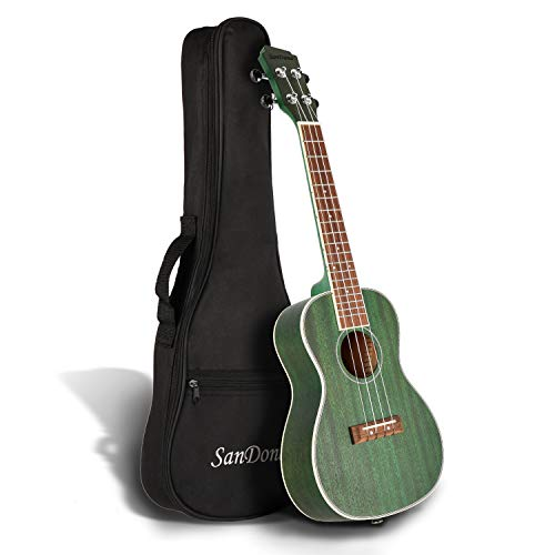 SANDONA Concert Ukulele 24 Inch Kit UKCB-MH | Sapele Solid Wood | Complete Concert Set with Strap, Premium Strings, Digital Tuner and Gig bag | Accurate Tuning | Forest Green
